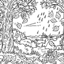 Autumn Leaf in the Forest Coloring Page