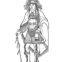 Awesome Native American Chief on Native American Day Coloring Page