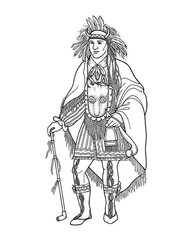 awesome native american chief on native american day coloring page - Native American Coloring Book