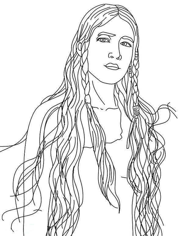 Beautiful Native American Girl on Native American Day Coloring Page