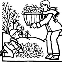 Father and Son Collecting Autumn Leaf Coloring Page