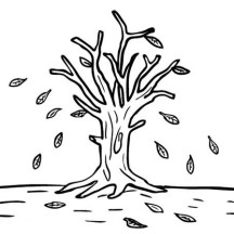 Leafless Tree in Autumn Leaf Coloring Page