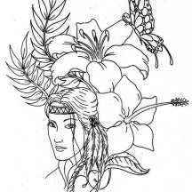 Lovely Native American on Native American Day Coloring Page