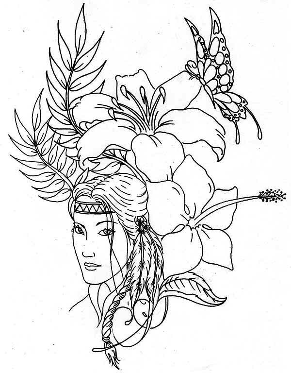 lovely native american on native american day coloring page - Native American Coloring Pages