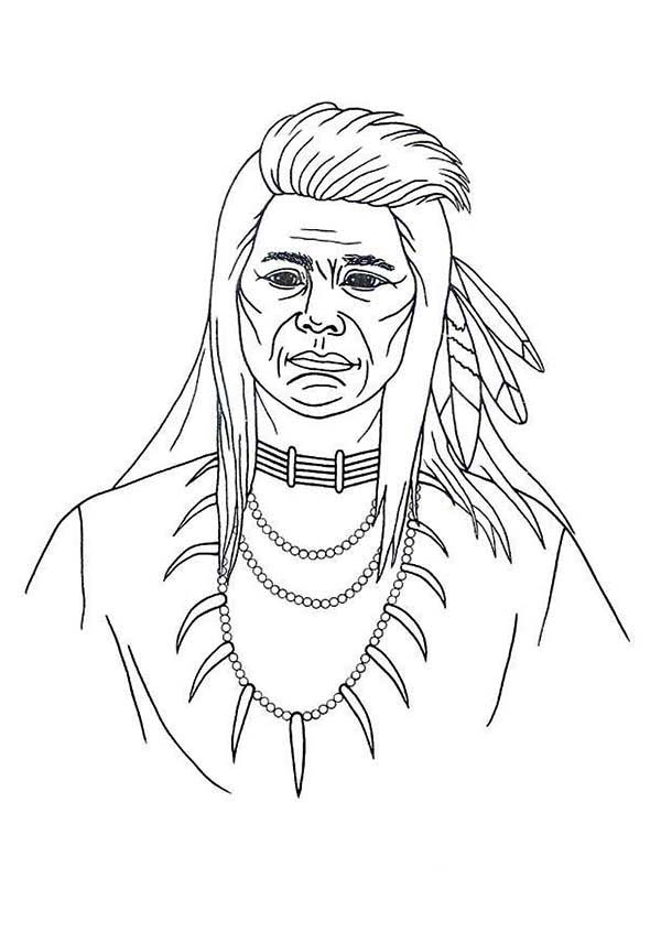 Native American Picture on Native American Day Coloring Page