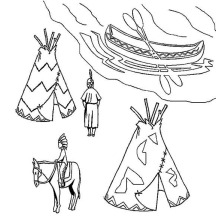 Native American Village on Native American Day Coloring Page