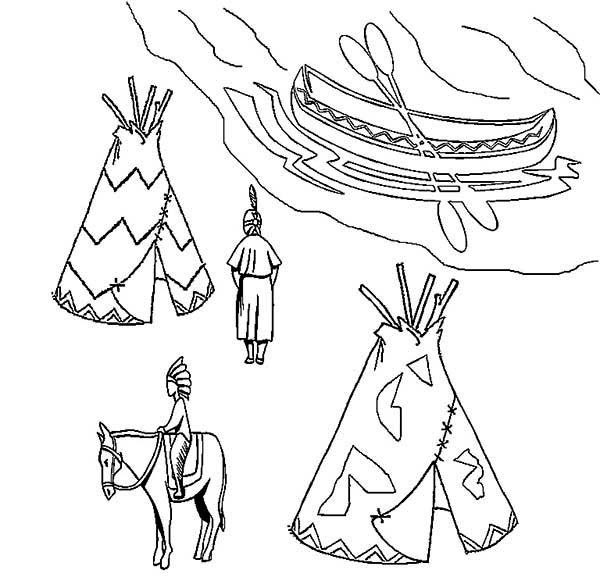 Native American Village on Native American Day Coloring Page NetArt