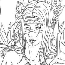 Native American Warrior on Native American Day Coloring Page