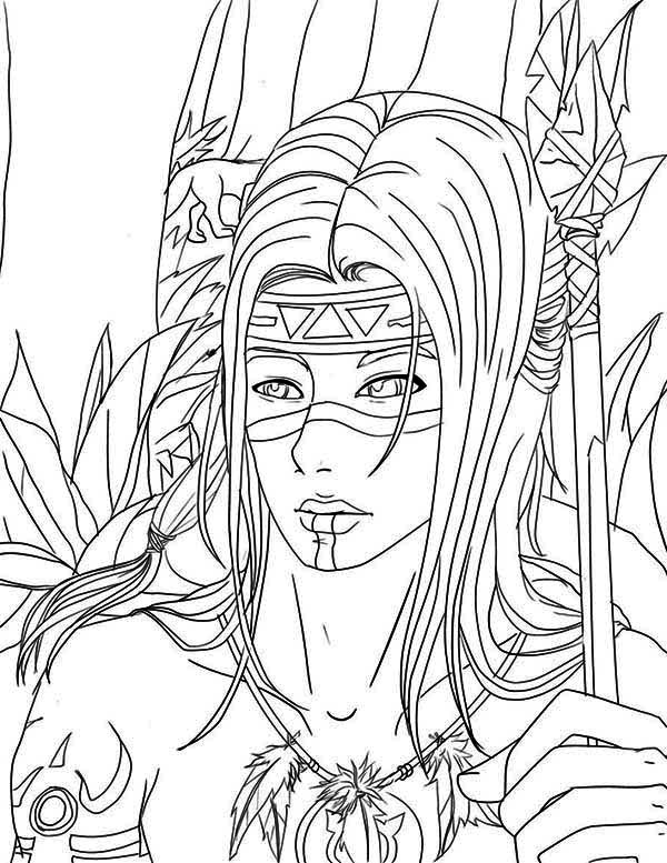 native american warrior on native american day coloring page - Native American Coloring Pages