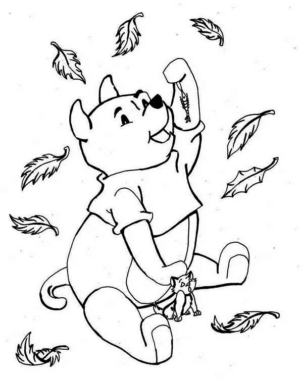 Pooh and Cat Enjoying Autumn Season Coloring Page