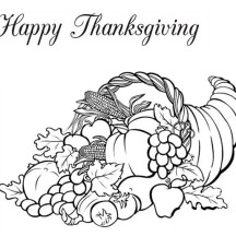 A Full Packed Horn of Plenty Canada Thanksgiving Day Fruit Basket Coloring Page