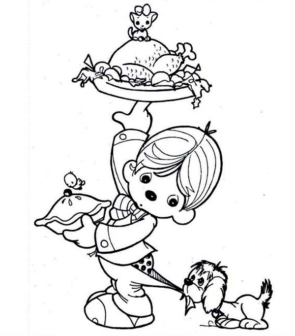 A Kid Preparing Canada Thanksgiving Day Dinner Coloring Page