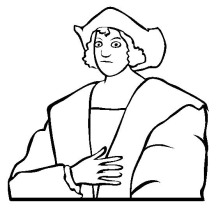Christopher Columbus Line Art On Columbus Day Coloring Page