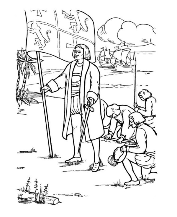 Columbus First Landed In America On Columbus Day Coloring Page