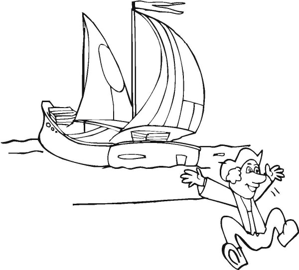 Columbus Happy Landed On Columbus Day Coloring Page