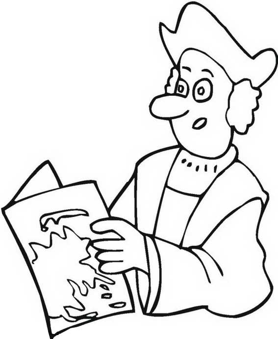 Columbus Read Map On Columbus Day Coloring Page