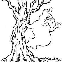 Hilarious White Ghost Beside the Tree on Halloween Day Coloring Page
