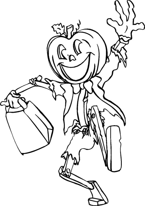 Jack O' Lantern Says Joyful and Happy Halloween Day Coloring Page