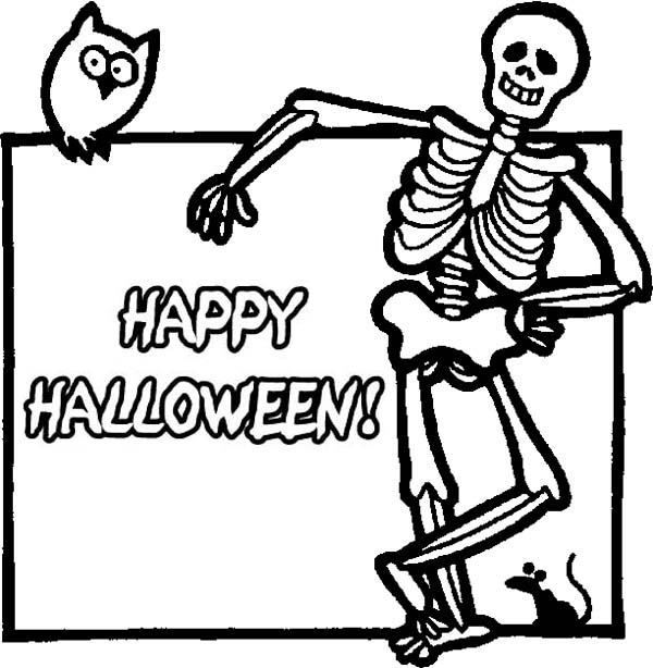 joyful and happy halloween day says the skeleton coloring page - Halloween Skeleton Coloring Pages