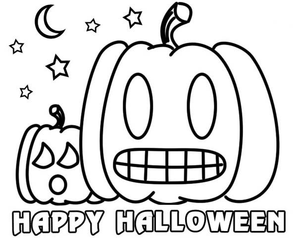 Joyful and happy halloween day from pumpkin jack o lantern coloring page