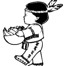 Little Indian Boy Holding Corn Bowl on Canada Thanksgiving Day Coloring Page