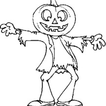 Scarecrow Jack O' Lantern on Halloween Day Coloring Page