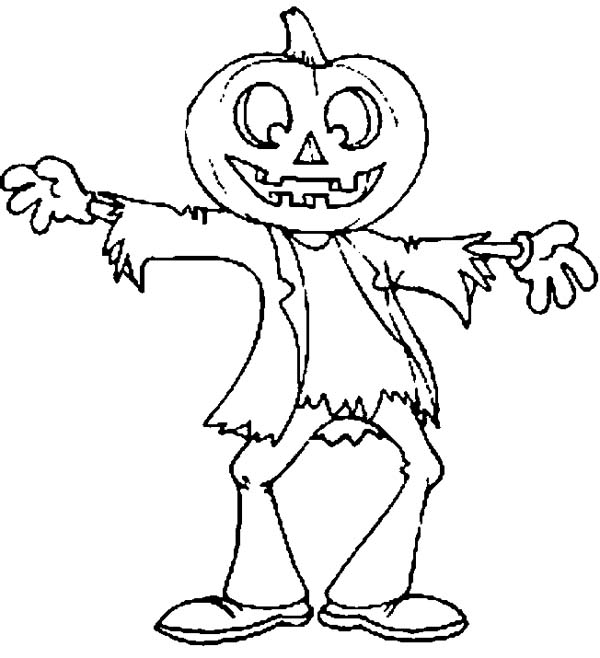 Scarecrow Jack O\' Lantern on Halloween Day Coloring Page - NetArt