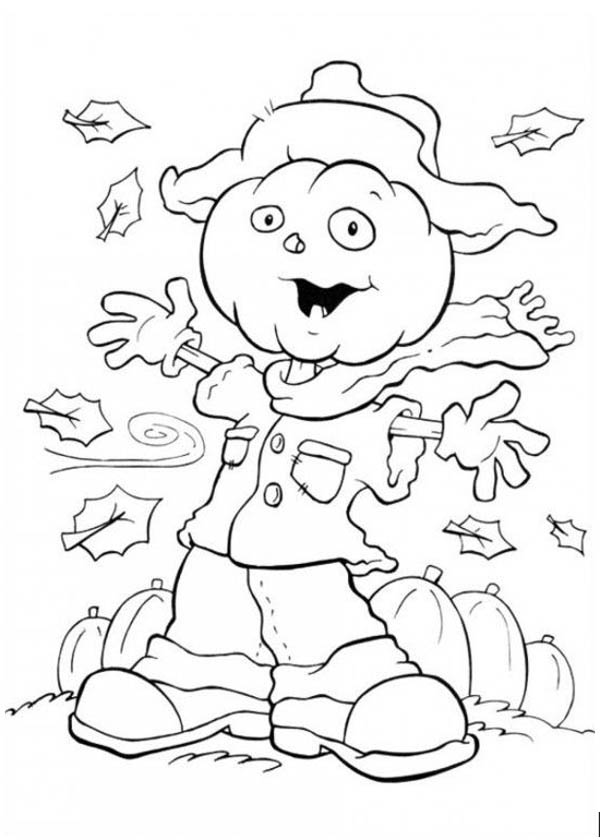 Scarecrow White Ghost on Halloween Day Coloring Page