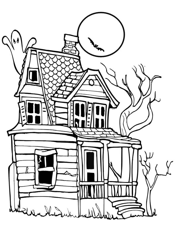 Spooky Halloween Day House Coloring Page