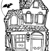 Spooky and Haunted Halloween Day House Coloring Page