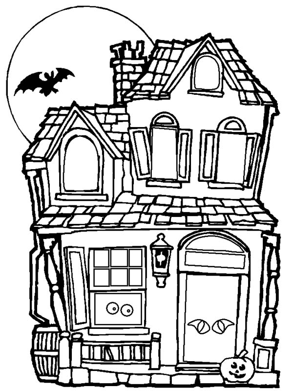 haunted house color page - spooky and haunted halloween day house coloring page netart