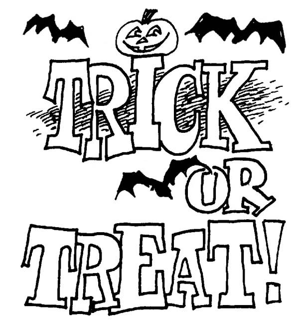 Trick or Treat on Halloween Day Coloring Page