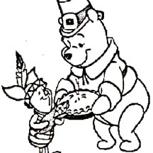 Winnie the Pooh and Piglet Celebrating Canada Thanksgiving Day Coloring Page