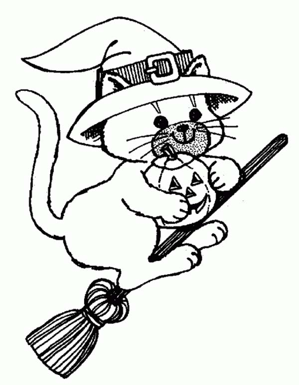 Witch Cat Riding Broomstick on Halloween Day Coloring Page