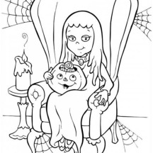 Young Dracula Girl on Halloween Day Coloring Page