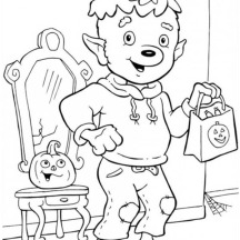 Young Werewolf Ready for Trick or Threat on Halloween Day Coloring Page