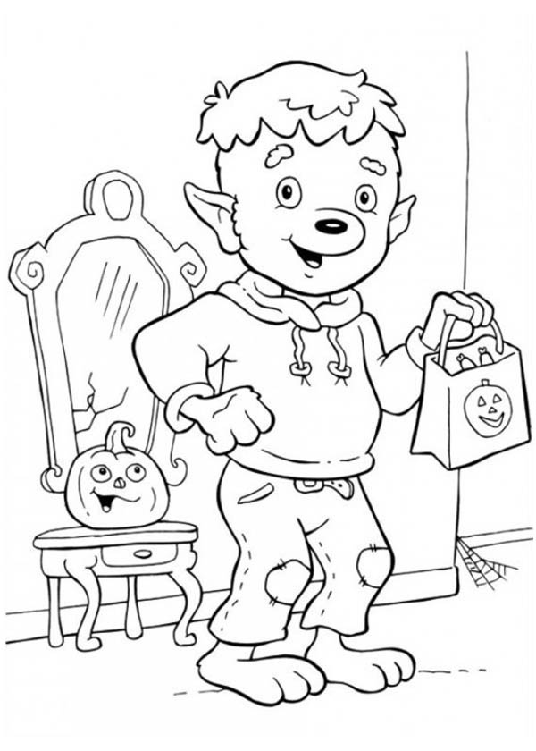 young werewolf ready for trick or threat on halloween day coloring page - Halloween Werewolf Coloring Pages