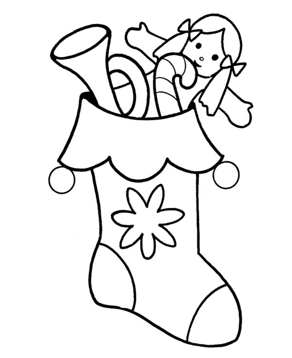 A Packed of Christmas Stocking on Christmas Coloring Page - NetArt
