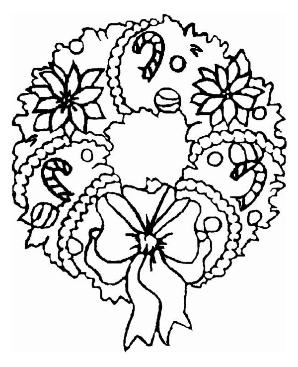 A Sweet Christmas Wreath Ornament On Coloring Page