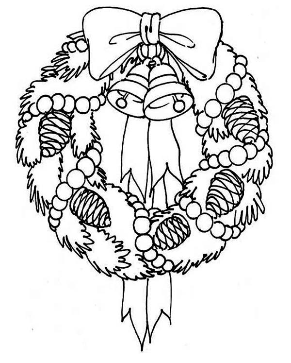 A Sweet Christmas Wreath for Hanging Decor on Christmas Coloring Page