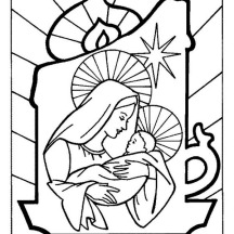 baby jesus and mother mary on christmas eve on christmas coloring page - Mary Baby Jesus Coloring Page