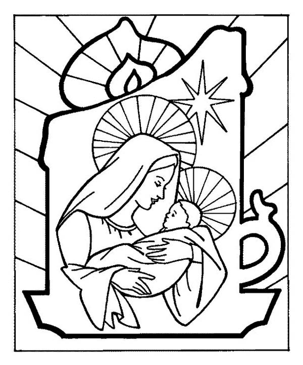 Baby Jesus And Mother Mary On Christmas Eve Coloring Page