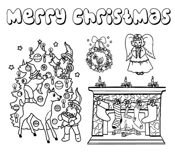 Complete Christmas Symbols for Ornament on Christmas Coloring Page