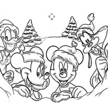 Disney Gang on Christmas Day on Christmas Coloring Page