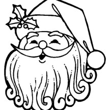 Joyful Santa Claus with Curly Beard on Christmas Coloring Page