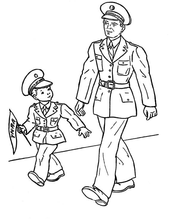 Little Kid and His Dad Celebrating Veterans Day Coloring Page