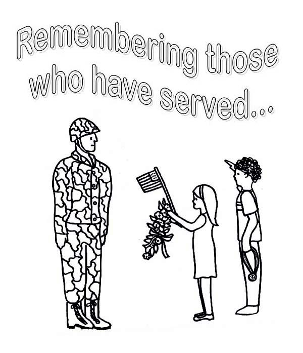 little kids celebrating veterans day by giving flowers and salute to soldier coloring page
