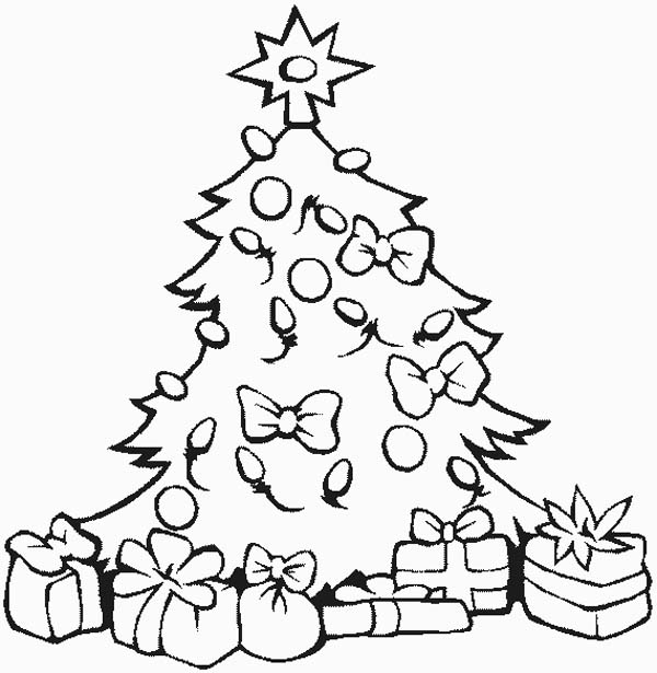 Lovely christmas tree with all the ornaments and presents on christmas coloring page