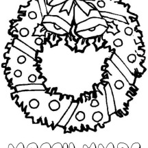 Lovely Christmas Wreath for Ornament on Christmas Coloring Page