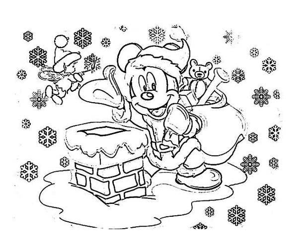 Mickey Mouse on Santa Claus Outfit on Christmas Coloring Page NetArt